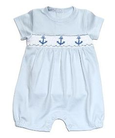 Blue Anchor Away Hand-Smocked Pima Romper - Infant & Toddler by Zulily