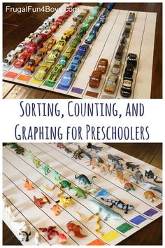 Sorting, Counting, and Graphing for Preschoolers - Frugal Fun For Boys and Girls Make a giant color graph! Great way to learn through play for preschoolers. Sorting, counting, and graphing. Preschool Colors, Preschool At Home, Preschool Lessons, Preschool Classroom, Kindergarten Math, Preschool Charts, Reggio Classroom, Montessori Elementary, Preschool Toys