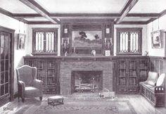 Craftsman Bungalow Fireplace w/ Built-In Bookshelves Bungalow Living Rooms, Bungalow Interiors, Bungalow Homes, Bungalow Decor, Craftsman Fireplace, Brick Fireplace, Fireplace Surrounds, Fireplace Ideas, Fireplace Bookshelves