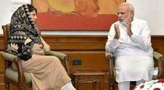 Chief Minister Mehbooba Mufti in a meeting with Prime Minister Narendra Modi in Parliament Hall New Delhi.