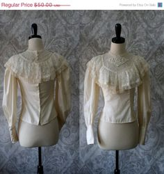1970s Fitted Victorian Hippie Lace Blouse $40.00