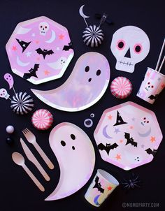 Calling all ghosts and ghouls out there! Come celebrate Halloween with these spooktacular party goods featuring skulls, black bats, spiders, bats and more. They are simply boo-riffic!