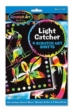 """Melissa and Doug Scratch Art Magic Scratch-Lite """"Stained Glass""""4 Sheets Ages 5 to 95 #StainedGlassKids"""