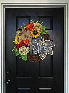 The Felicity Fall Wreath 2, Autumn Wreath, Fall Wreath, Sunflower Wreath, Burlap Wreath, Monogram Wreath, Hydrangea Wreath, Thanksgiving