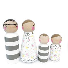 Imaginative role play is so important for your childs developing mind. Meet The FRESH Family! This simple, patterned family of 4 is ready to move right into your childs modern doll house! They would also look very hip lined up on a pretty shelf in a childs room or babys nursery...dontcha