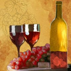 PTM Red Wine Still Life Drawing Print on Canvas
