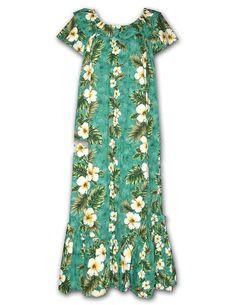 "Women's Long Hawaiian Muu'Muu Green ""Kalea"" Hawaiian Print/Made in USA in Clothing, Shoes & Accessories, Women's Clothing, Dresses | eBay"