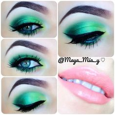 Today's look .Green Ombre eye using Coastal Scents 252 Ultimate palette (a super cheap must have) and a light peach YSL lip requested by @missmariss85  I hope you like it Let me know if you guys want a pictorial on this look ⚠Green eyeshadow makes brown eyes pop. - @maya_mia_y- #webstagram