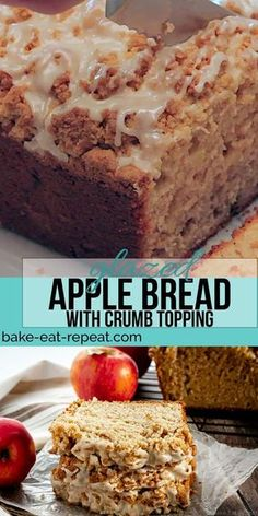 This apple bread with a crumb topping is so easy to make and tastes fantastic. A cinnamon flavoured bread studded with apples plus a crumb topping and a maple glaze makes the perfect treat! - Breads - Ideas of Breads Apple Cake Recipes, Banana Bread Recipes, Pumpkin Recipes, Cookie Recipes, Apple Desserts, Apple Bread Recipe Healthy, Dutch Apple Bread Recipe, Irish Desserts, Apple Recipes Easy
