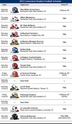 Uconn Huskies ( Connecticut ) 2012 Football Schedule - Big East