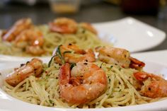 Lemon spaghetti with herb prawns Jalapeno Wonton Poppers, Lemon Spaghetti, Food Porn, Good Food, Yummy Food, Food Humor, Fish And Seafood, Pasta Recipes, Food Inspiration