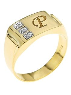 Love Gold 9 Carat Yellow Diamond Set Initial Signet Ring This