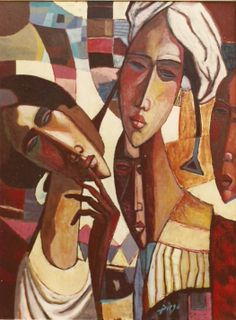 """Diego Voci™ Diego's trip to North Africa made indelible impressions which through the years he transferred to canvas. In this image Diego combines elements of Cubism with Surrealism. To view the """"Helga and Diego"""" biography from Helga Voci, widow of Diego click on link: http://www.artifactcollectors.com/diego-history-4330818/Page2.html#36"""