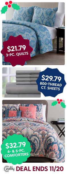 Sign up to save on quilts, comforters, and sheets at zulily.com. Shop new bedding for the whole family. Deal ends 11/20.