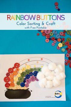 Rainbow Buttons Color Sorting & Craft - Kidz Activities