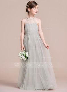 [US$ 87.49] A-Line/Princess Scoop Neck Floor-Length Tulle Junior Bridesmaid Dress With Ruffle