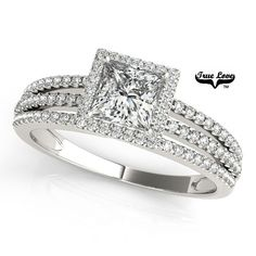 A petite three row split band engagement ring with a diamond halo and matching diamond band. This ring is made for a princess diamond and can also be made for other sizes as well as in other metals. May be purchased as a set or without the wedding band. Princess Cut Rings, Princess Cut Engagement Rings, Beautiful Engagement Rings, Halo Diamond Engagement Ring, Diamond Rings, Diamond Cuts, Solitaire Rings, Halo Rings, Diamond Princess