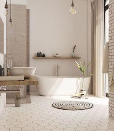 Bathroom Floor Ideas and Designs - Freistehende badewanne - Bathroom Decor Beautiful Bathrooms, Modern Bathroom, Small Bathroom, Bathroom Ideas, Bathroom Designs, Bathroom Organization, Cosy Bathroom, White Bathroom, Rental Bathroom