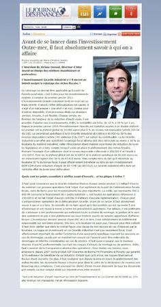 Journal Des Finances Jerome Devaud Inter Invest Investissement en Outre-Mer