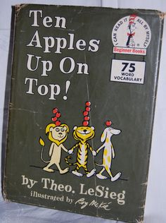 """Vintage Childrens Book - """"Ten Apples Up On Top"""", 1961 - still a great book for learning to read!"""