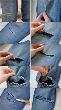 C: How to make holes in your jeans tutorial + how to prevent the hole from expanding