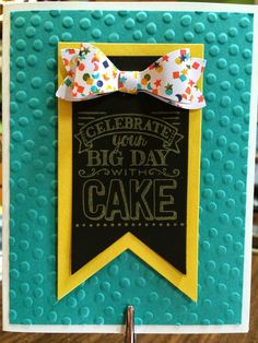 The Stamp Therapists: Four more days until Sale a Bration Starts!! This one uses the Sale a Bration set Big Day!  It comes in Clear or Wood. It also uses: the Bow Builder Punch, Chalkboard Paper and ColorBox Chalk Ink, Birthday Bash Designer Series Paper, the Decorative Dots Folder, and the Banner Framelits.  www.stampwithjennifer.blogspot.com