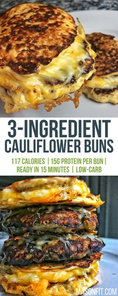 You'll love these 3-ingredient cauliflower buns that pack 15 grams of protein in a single bun!