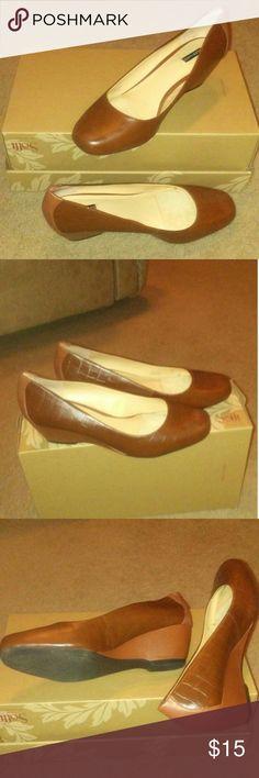By Alex Marie wedge heel shoe. Alex Marie brown to tone wedge heel shoe with a 21/2 inch heel. Alex Marie Shoes Wedges