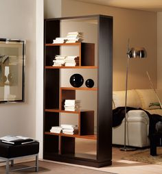 Bookshelves Decorating Ideas for Living Room Book Shelf Decorating Idea & Tip Bookshelves Decorating Ideas for Living Room. If you have bookshelves in your home, and lots of books, you've… Living Room Partition Design, Living Room Divider, Room Partition Designs, Home Decor Furniture, Furniture Design, Modern Room, Home And Living, Bookshelves, Shelving