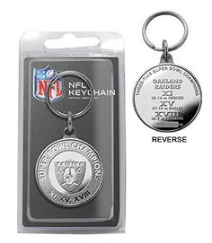 NFL Oakland Raiders 3-Time Super Bowl Champions Minted Coin Keychain