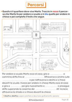I Percorsi: Schede Didattiche per la Scuola Primaria | PianetaBambini.it Italian Language, Coding, Education, School, Euro, Math Exercises, Activities, First Grade Math, 1st Grades