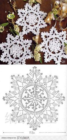 57 Ideas for knitting christmas decorations snowflake ornaments Crochet Snowflake Pattern, Crochet Stars, Christmas Crochet Patterns, Holiday Crochet, Crochet Snowflakes, Doily Patterns, Christmas Knitting, Thread Crochet, Crochet Crafts