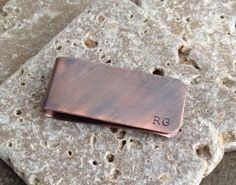 Hand Stamped Copper Personalized Money Clip - Groomsmen, Father's Day, Dad, Grandpa by 321SimpleCreations on Etsy https://www.etsy.com/listing/186595018/hand-stamped-copper-personalized-money