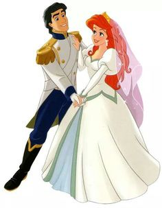 Ariel and Prince Eric on their romantic Wedding Day