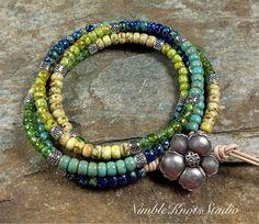 Leather Wrap Bracelet/Bead Wrap Bracelet/Beaded Bracelet/Boho Wrap/Double Wrap Bracelet/Gift for Her/NimbleKnotsStudio/Valentines Day Gift Beaded Wrap Bracelets, Seed Bead Bracelets, Love Bracelets, Beaded Jewelry, Women's Jewelry, Jewelry Ideas, Bangles, Bohemian Jewelry, Unique Jewelry