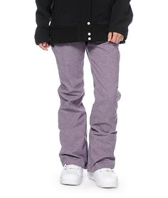 Take on the mountains in style with these purple textured snowboard pants constructed with a water-resistant exterior and soft tricot lining that will keep you dry and warm.