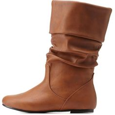 Charlotte Russe Cognac Slouchy Flat Fold-Over Mid-Calf Boots by... ($31) ❤ liked on Polyvore featuring shoes, boots, cognac, cuffed boots, mid calf slouch boots, fold-over boots, slouchy mid calf boots and foldover boots