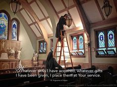 """""""Whatever skills I have acquired, whatever gifts I have been given, I place them at Your service."""" ~St. Augustine ©Sisters, Slaves of the Immaculate Heart of Mary. Saint Benedict Center, Still River MA www.saintbenedict.com"""