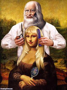 Cosmetic Studio of Leonardo Da Vinci Pop Art, Mona Friends, La Madone, Mona Lisa Parody, Mona Lisa Smile, Tachisme, Altered Images, Italian Artist, Funny Art
