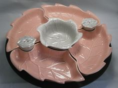 Celebrate Pink. Vintage California Pottery Lazy Susan, Made in U.S.A