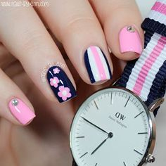Navy and Pink Mix & Match Nails | Daniel Wellington Watch Review | NailsByErin