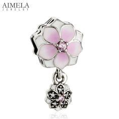AIMELA Silver Bijoux 2017 Spring 925 Sterling Silver Pale Cerise Enamel Magnolia Bloom Flower Charms Beads Fit Pandora Bracelets