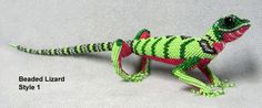 F1988 B218 Style 1 - Beaded Lizard from Guatemala, 13 inches long