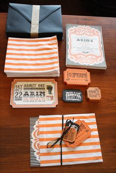 "LOVE LOVE these cool invitations..the ""bag"" used as the holder of the invite and tied w/ small touches"