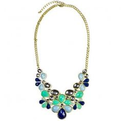 Floral Multi Color Bib Necklace