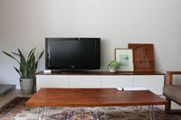 IKEA HACK - BESTA cabinets with stained wood top. via Blaha :: enJOY it.: DIY media cabinet.