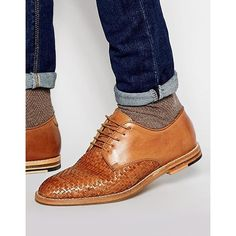 Hudson London Hadstone Woven Shoes ($136) ❤ liked on Polyvore featuring men's fashion, men's shoes, men's dress shoes, brown, mens brown dress shoes, mens leather lace up shoes, mens brown leather shoes, mens brown shoes and mens leather dress shoes