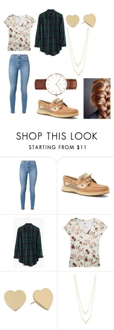 """""""Casual - Tuesday"""" by darrian-rice on Polyvore featuring 7 For All Mankind, Sperry Top-Sider, Madewell, Wet Seal, Kate Spade, Jennifer Zeuner and Daniel Wellington"""