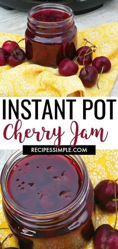 This Homemade Instant Pot Cherry Jam is a delicious jam that is perfect on toast or biscuits. You can also serve it over yogurt and ice cream. via Recipes Simple Cherry Jam Recipes, Jelly Recipes, Drink Recipes, Bean Recipes, Chili Recipes, Salad Recipes, Instant Pot Pressure Cooker, Pressure Cooker Recipes, Pressure Cooking