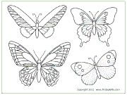 Butterfly colouring pages/templates. Lots of other crafts on this site too.